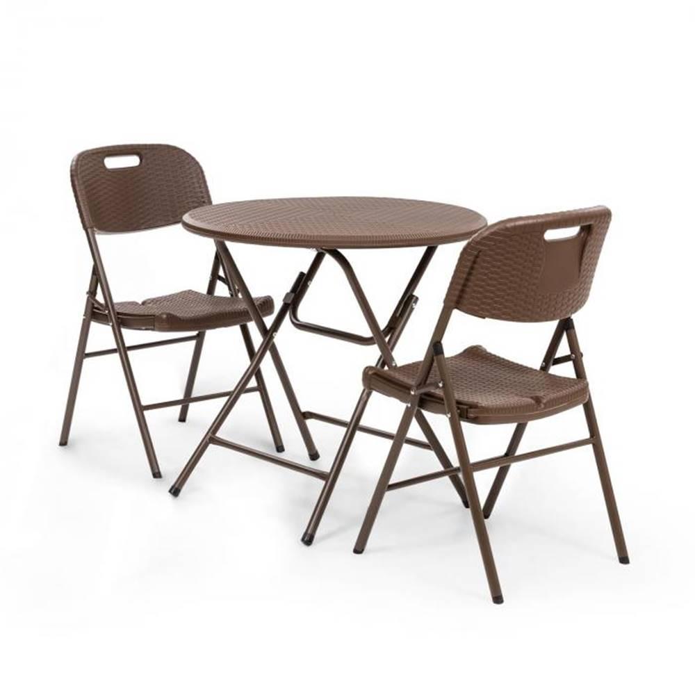 Blumfeldt Blumfeldt Posedenie Burgos stôl + 2 stoličky oceľové trubky HDPE imitácia ratanu sklápateľné