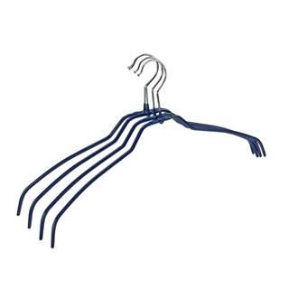 Sada 4 modrých protišmykových vešiakov na oblečenie Wenko Hanger Slim