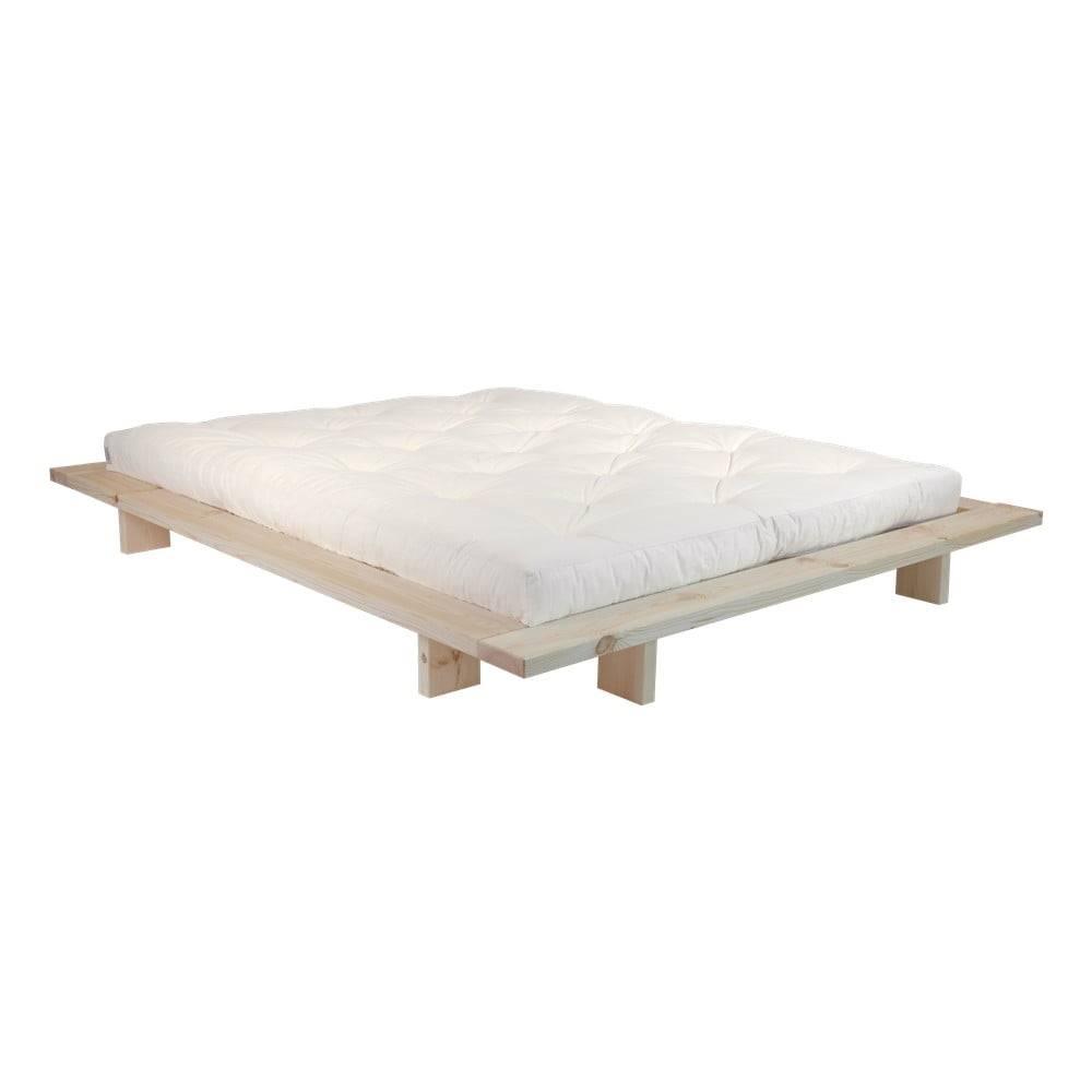 Karup Design Dvojlôžková posteľ z borovicového dreva s matracom Karup Design Japan Comfort Mat Raw/Natural, 140 × 200 cm