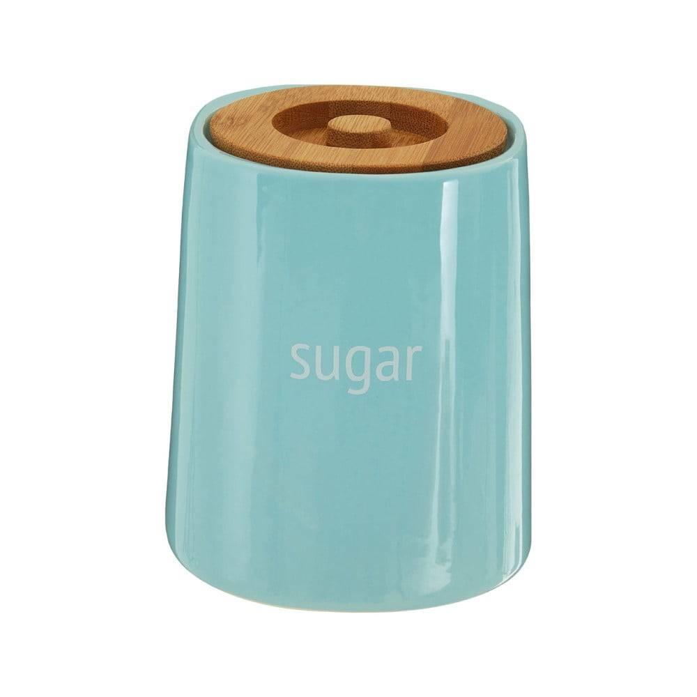 Premier Housewares Modrá dóza na cukor s bambusovým vrchnákom Premier Housewares Fletcher, 800 ml