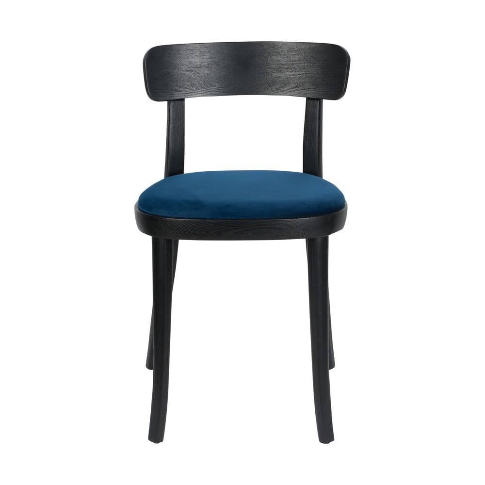 Dutchbone Sada 2 čiernych jedálenských stoličiek s modrým podsedákom Dutchbone Brandon