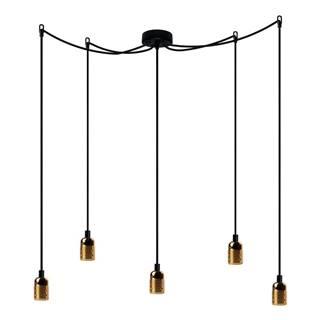 Závesné svietidlo s 5 čiernymi káblami a zlatou objímkou Bulb Attack Uno Cassie