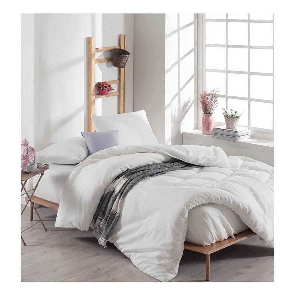 EnLora Home Biele bavlnené obliečky s plachtou na dvojlôžko Anna, 200 x 220 cm