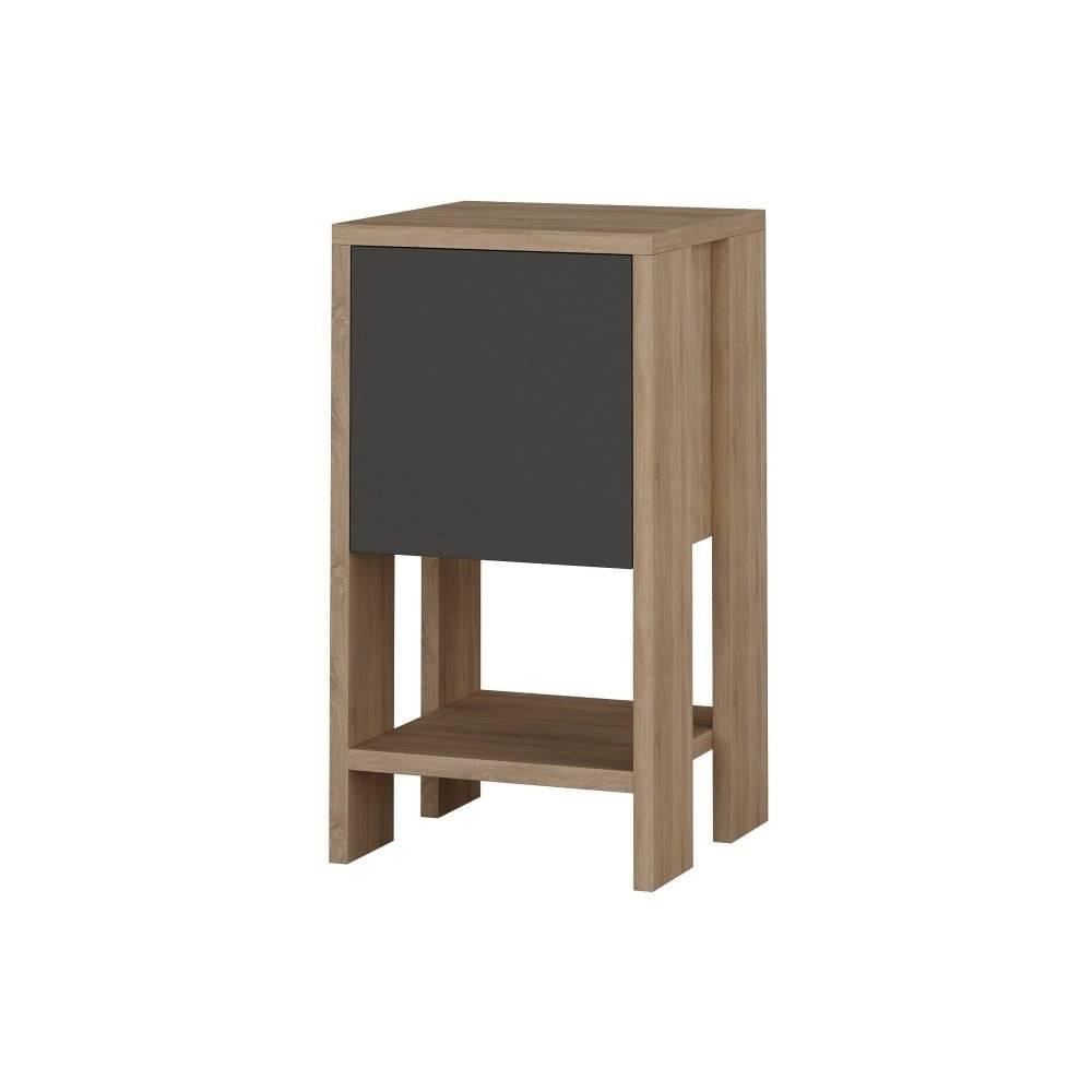 Homitis Antracitový nočný stolík s detailmi v dekore dubového dreva Garetto Ema