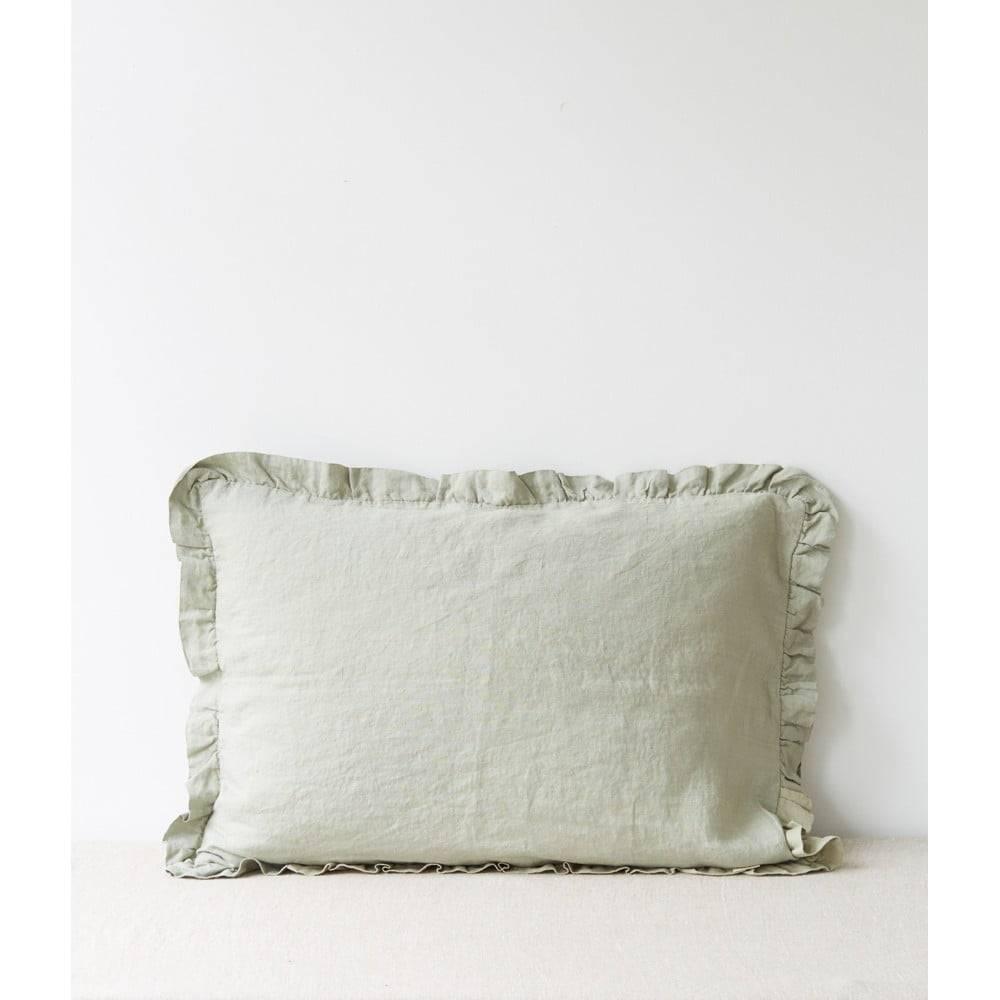 Linen Tales Svetlozelený ľanový vankúš s riaseným lemom Linen Tales, 50 x 60 cm