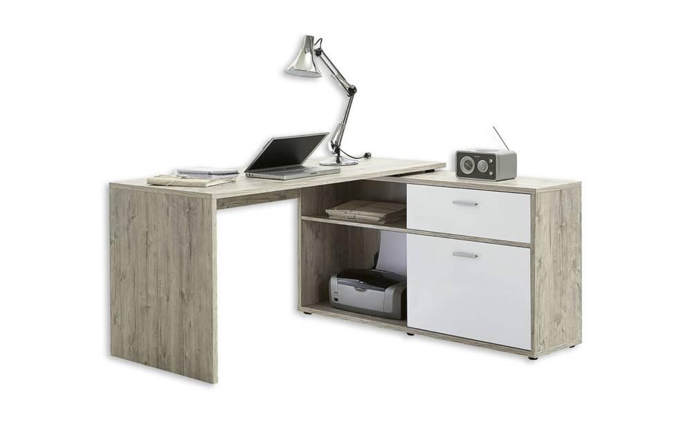 Sconto Písací stôl DIEGO 1 dub pieskový/biela vo vysokom lesku